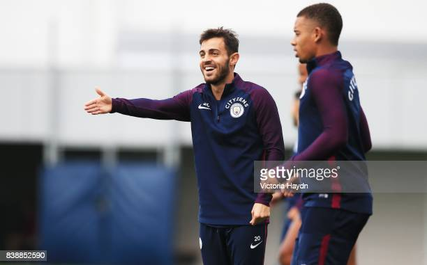 Bernardo Silva during training at Manchester City Football Academy on August 25 2017 in Manchester England