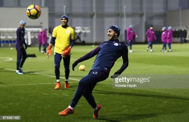 Bernardo Silva in action during training at Manchester City Football Academy on November 17 2017 in Manchester England