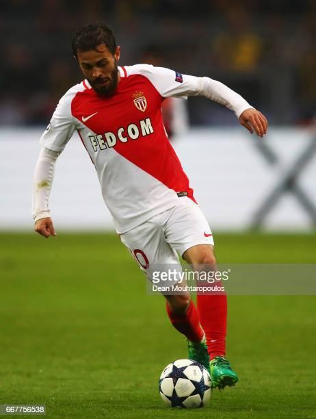 Bernardo Silva of AS Monaco in action during the UEFA Champions League Quarter Final first leg match between Borussia Dortmund and AS Monaco at...
