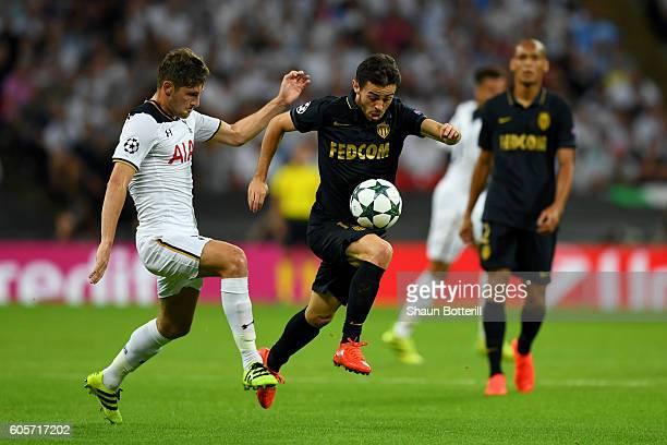 Bernardo Silva of AS Monaco takes on Ben Davies of Tottenham Hotspur during the UEFA Champions League match between Tottenham Hotspur FC and AS...