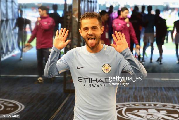 Bernardo Silva of Manchester City celebrates victory in the tunnel after the Premier League match between Manchester City and Stoke City at Etihad...