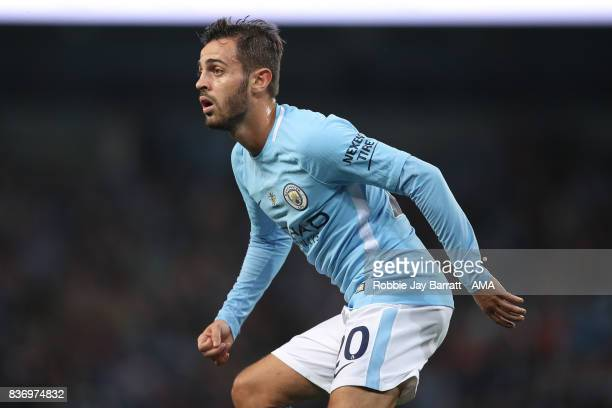 Bernardo Silva of Manchester City during the Premier League match between Manchester City and Everton at Etihad Stadium on August 21 2017 in...