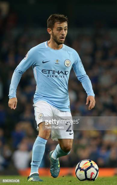 Bernardo Silva of Manchester City in action during the Premier League match between Manchester City and Everton at Etihad Stadium on August 21 2017...