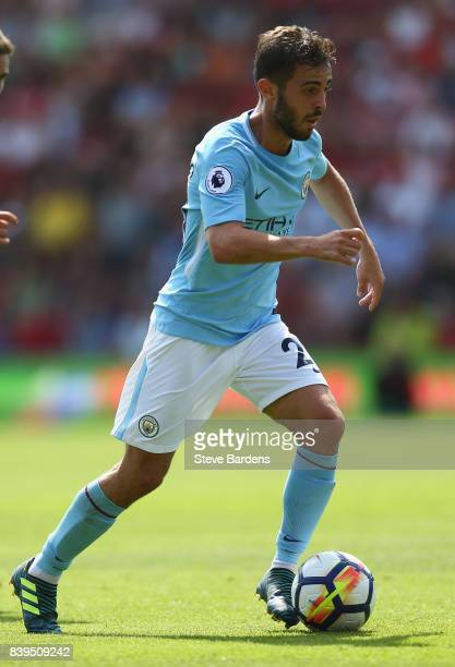 Bernardo Silva of Manchester City in action during the Premier League match between AFC Bournemouth and Manchester City at Vitality Stadium on August...