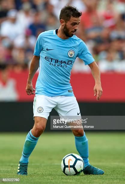 Bernardo Silva of Manchester City in action during the preseason friendly match between Girona and Manchester City at Municipal de Montilivi Stadium...