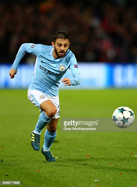Bernardo Silva of Manchester City in action during the UEFA Champions League group F match between Feyenoord and Manchester City at Feijenoord...