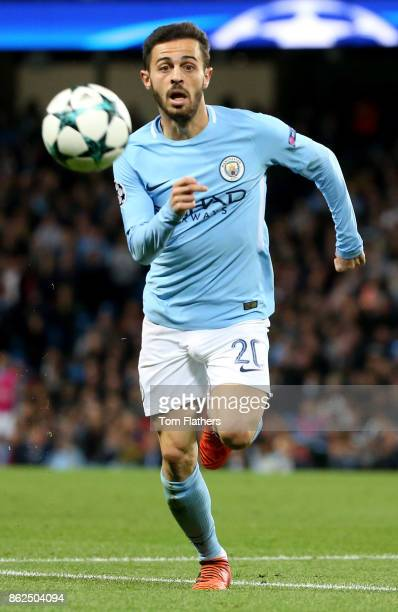 Bernardo Silva of Manchester City in action during the UEFA Champions League group F match between Manchester City and SSC Napoli at Etihad Stadium...