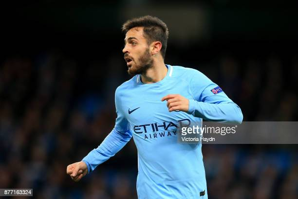 Bernardo Silva of Manchester City in action during the UEFA Champions League group F match between Manchester City and Feyenoord at Etihad Stadium on...