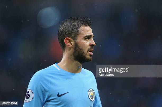 Bernardo Silva of Manchester City looks on during the Premier League match between Manchester City and Burnley at Etihad Stadium on October 21 2017...