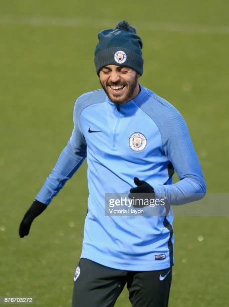 Bernardo Silva of Manchester City reacts during Manchester City Training ahead of the Champions League group F match between Manchester City and...
