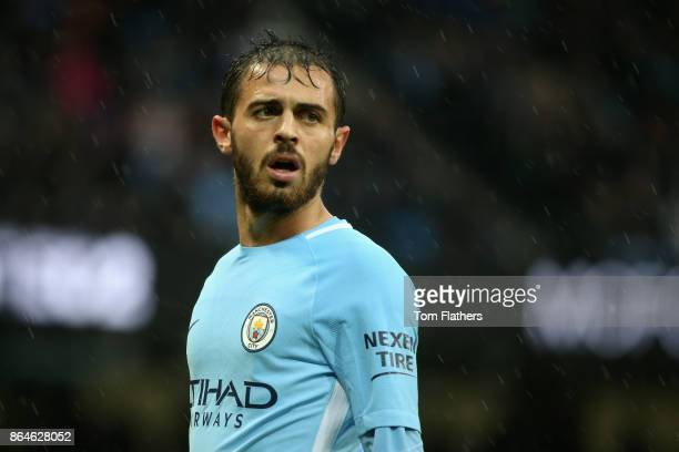 Bernardo Silva of Manchester City reacts during the Premier League match between Manchester City and Burnley at Etihad Stadium on October 21 2017 in...
