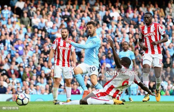 Bernardo Silva of Manchester City scores his sides seventh goal during the Premier League match between Manchester City and Stoke City at Etihad...