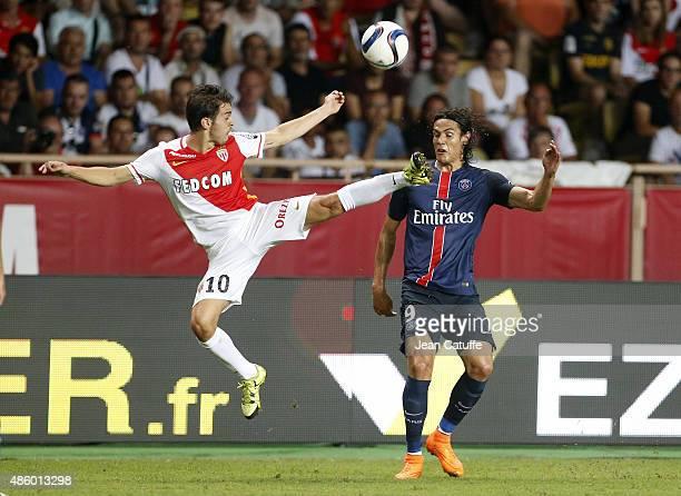 Bernardo Silva of Monaco and Edinson Cavani of PSG in action during the French Ligue 1 match between AS Monaco and Paris SaintGermain at Stade Louis...