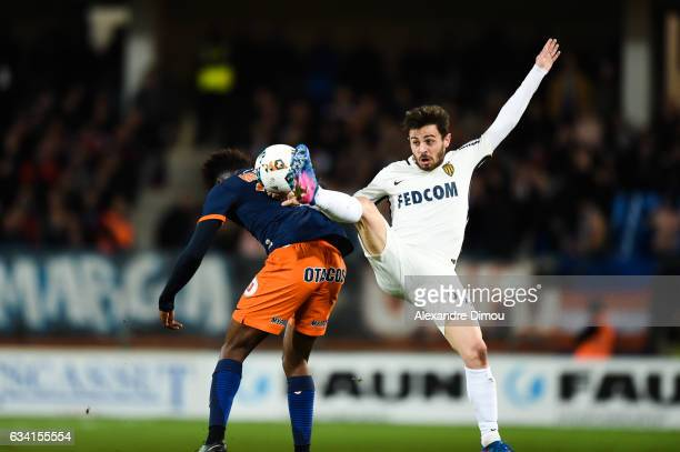 Bernardo Silva of Monaco and Isaac Mbenza of Montpellier during the French Ligue 1 match between Montpellier and Monaco at Stade de la Mosson on...