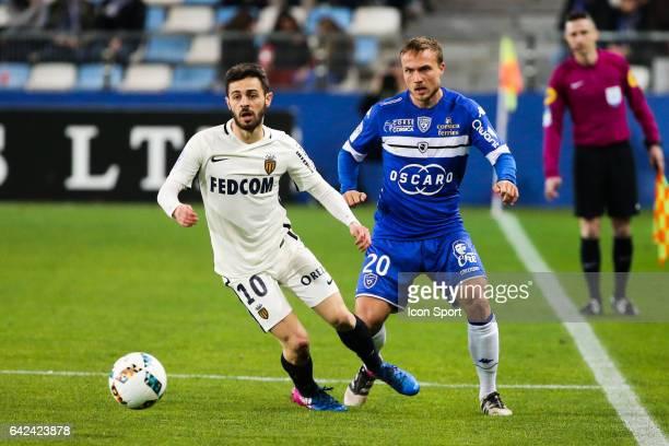 Bernardo Silva of Monaco and Pierre Bengtsson of Bastia during the French Ligue 1 match between Bastia and Monaco at Stade Armand Cesari on February...