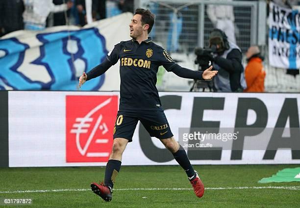 Bernardo Silva of Monaco celebrates his second goal during the French Ligue 1 match between Olympique de Marseille and AS Monaco at Stade Velodrome...