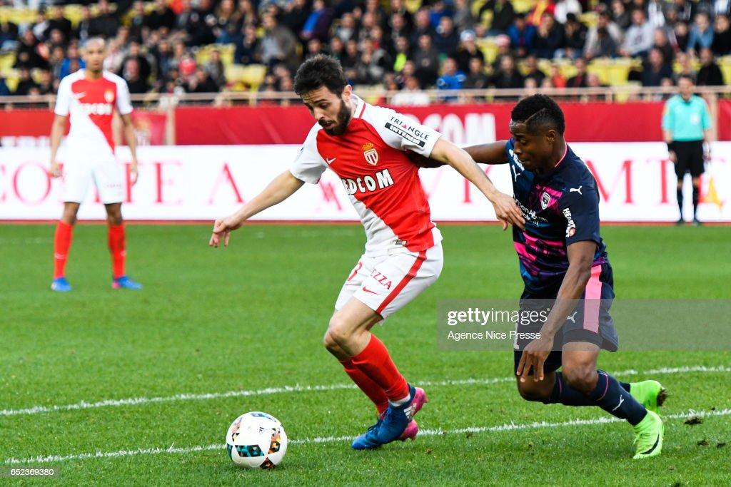 Bernardo Silva of Monaco during the Ligue 1 match between As Monaco and Girondins Bordeaux at Louis II Stadium on March 11, 2017 in Monaco, Monaco.