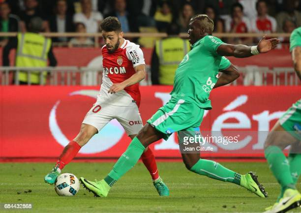 Bernardo Silva of Monaco Florentin Pogba of SaintEtienne in action during the French Ligue 1 match between AS Monaco and AS SaintEtienne at Stade...