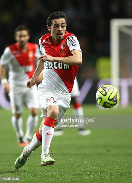 Bernardo Silva of Monaco in action during the French Ligue 1 match between AS Monaco FC v Olympique de Marseille OM at Stade Louis II on December 14...
