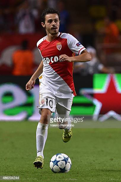 Bernardo Silva of Monaco in action during the UEFA Champions League qualifying round play off second leg match between Monaco and Valencia on August...