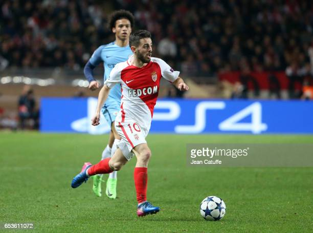 Bernardo Silva of Monaco in action during the UEFA Champions League Round of 16 second leg match between AS Monaco and Manchester City FC at Stade...