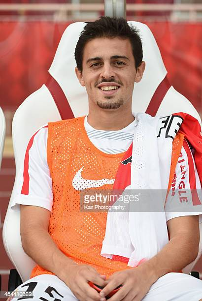Bernardo Silva of Monaco is seen on the bench prior to the French Ligue 1 match between AS Monaco FC and LOSC Lille at Louis II Stadium on August 30...