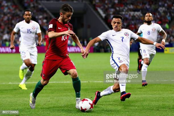 Bernardo Silva of Portugal and Alexis Sanchez of Chile in action during the FIFA Confederations Cup Russia 2017 SemiFinal between Portugal and Chile...