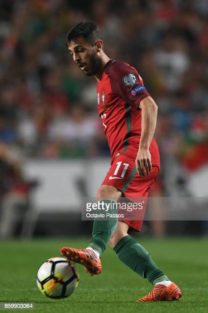 Bernardo Silva of Portugal competes in action during the FIFA 2018 World Cup Qualifier between Portugal and Switzerland at the Luz Stadium on October...