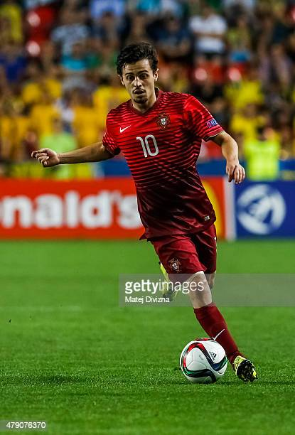 Bernardo Silva of Portugal in action during UEFA U21 European Championship final match between Portugal and Sweden at Eden Stadium on June 30 2015 in...