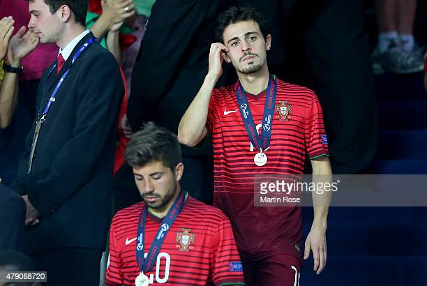 Bernardo Silva of Portugal looks dejected after losing the UEFA European Under21 final match between Sweden and Portugal at Eden Stadium on June 30...