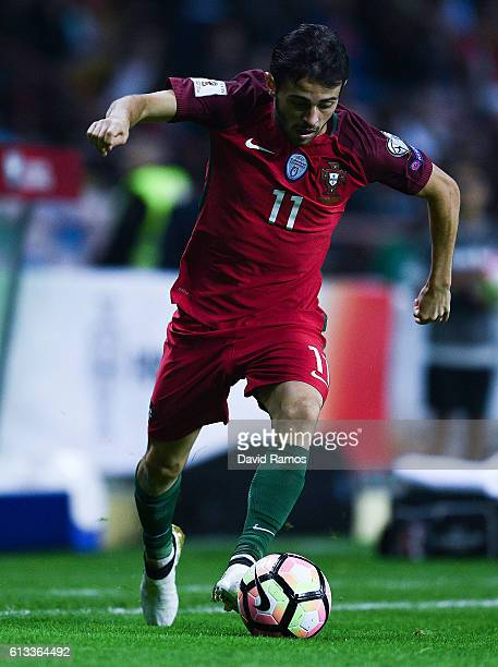 Bernardo Silva of Portugal runs with the ball during the FIFA 2018 World Cup Qualifier between Portugal and Andorra at Estadio Municipal de Aveiro on...