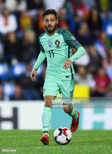 Bernardo Silva of Portugal runs with the ball during the FIFA 2018 World Cup Qualifier between Andorra and Portugal at the Estadi Nacional on October...