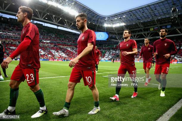 Bernardo Silva of Portugal warms up prior to the FIFA Confederations Cup Russia 2017 SemiFinal between Portugal and Chile at Kazan Arena on June 28...