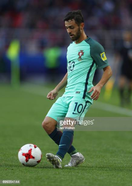 Bernardo Silva of Prtugal in action during the FIFA Confederations Cup Russia 2017 Group A match between Russia and Portugal at Spartak Stadium on...