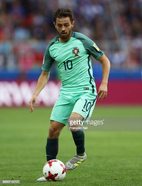 Bernardo Silva ofPortugal in action during the FIFA Confederations Cup Russia 2017 Group A match between Russia and Portugal at Spartak Stadium on...