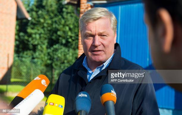 Bernd Althusmann top candidate of the conservative Christian Democratic Union party for regional elections in Lower Saxony talks with journalists...