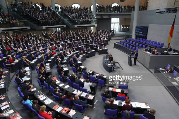 Bernd Baumann of the rightwing Alternative for Germany speaks at the opening session of the new Bundestag on October 24 2017 in Berlin Germany...