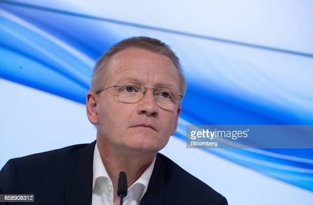 Bernd Hirsch chief financial officer of Bertelsmann SE pauses during a news conference in Berlin Germany on Tuesday March 28 2017 Bertelsmann SE the...