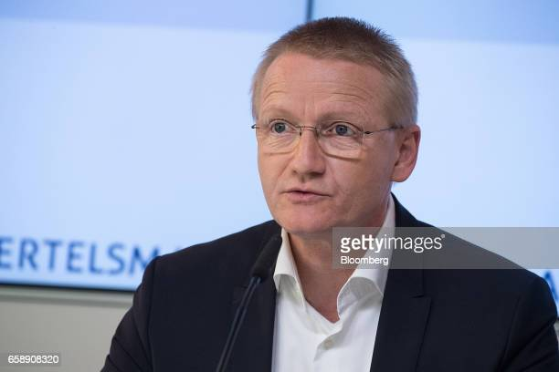 Bernd Hirsch chief financial officer of Bertelsmann SE speaks during a news conference in Berlin Germany on Tuesday March 28 2017 Bertelsmann SE the...