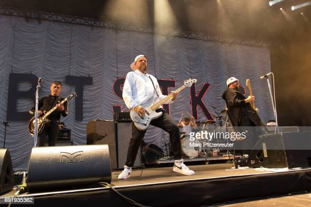 Bernd Kurtzke Torsten Scholz Thomas Goetz and Arnim TeutoburgWeiss of Beatsteaks perform on stage during the second day of 'Rock am Ring' on June 3...
