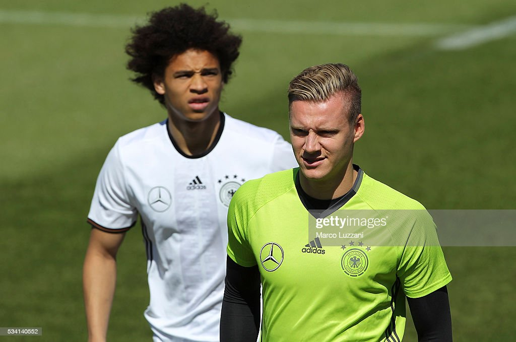 <a gi-track='captionPersonalityLinkClicked' href=/galleries/search?phrase=Bernd+Leno&family=editorial&specificpeople=5528639 ng-click='$event.stopPropagation()'>Bernd Leno</a> (R) and Leroy Sane (L) of Germany look on during the German national team's pre-EURO 2016 training camp on May 25, 2016 in Ascona, Switzerland.
