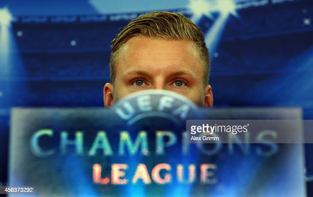 Bernd Leno attends a Bayer Leverkusen press conference ahead of their UEFA Champions League Group C match against SL Benfica at BayArena on September...