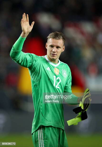 Bernd Leno goalkeeper of Germany celebrates after the FIFA 2018 World Cup Qualifier between Germany and Azerbaijan at FritzWalterStadion on October 8...