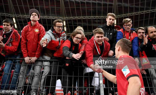 Bernd Leno goalkeeper of Leverkusen discuss with the fans after the Bundesliga match between Bayer 04 Leverkusen and FC Schalke 04 at BayArena on...