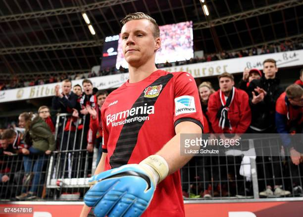 Bernd Leno goalkeeper of Leverkusen reacts after the Bundesliga match between Bayer 04 Leverkusen and FC Schalke 04 at BayArena on April 28 2017 in...