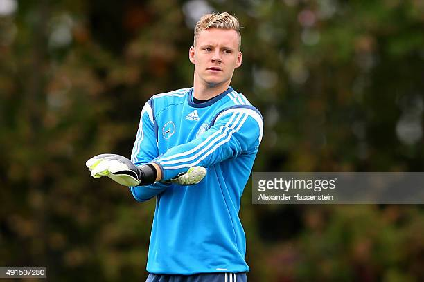 Bernd Leno keeper of Germany looks on during a training session of the German national football team at Commerzbank Arena on October 6 2015 in...