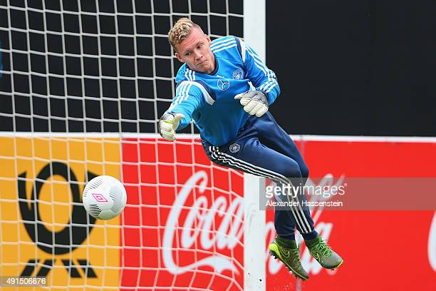 Bernd Leno keeper of Germany safes the ball during a training session of the German national football team at Commerzbank Arena on October 6 2015 in...