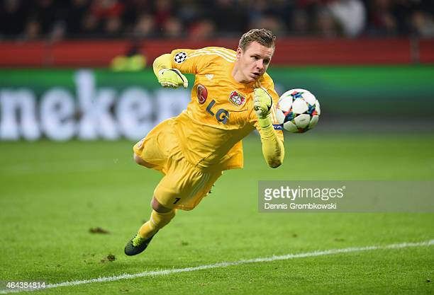 Bernd Leno of Bayer Leverkusen in action during the UEFA Champions League round of 16 match between Bayer 04 Leverkusen and Club Atletico de Madrid...