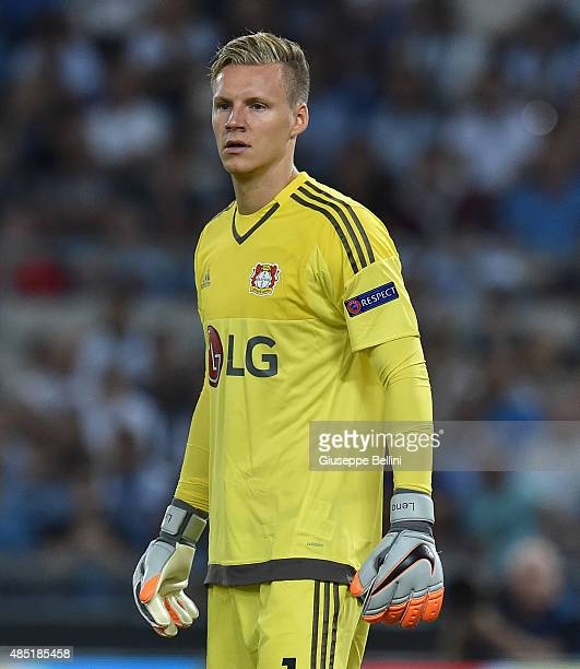 Bernd Leno of Bayer Leverkusen in action during the UEFA Champions League qualifying round play off first leg match between SS Lazio and Bayer...