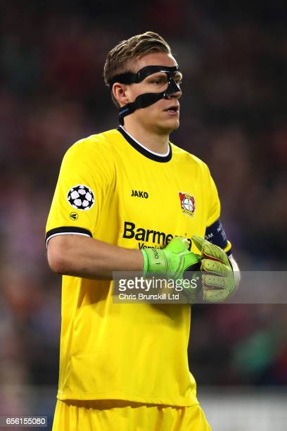 Bernd Leno of Bayer Leverkusen looks on during the UEFA Champions League Round of 16 second leg match between Club Atletico de Madrid and Bayer...